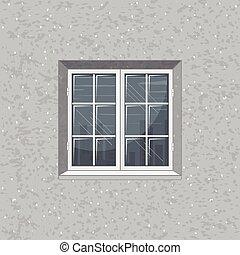 concreto, solido, vetro, vettore, finestra., parete
