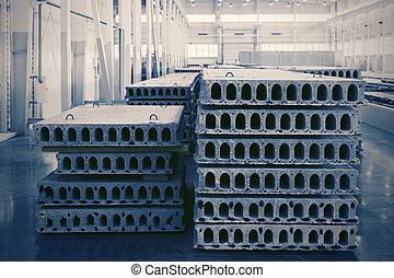 concreto, taller, precast, reforzado, pila, fábrica, losas