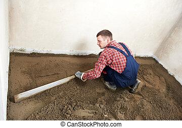 concreto, trabajo, trabajador, yesero, piso