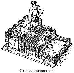 concreto, trabalhador, preparar