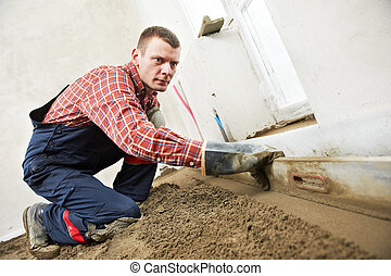 concreto, trabalho, trabalhador, plasterer, chão