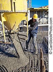 concreto, trabalhos, despejar