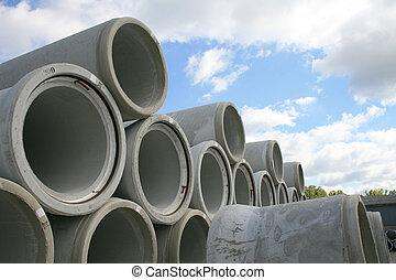concreto, tubagens de água