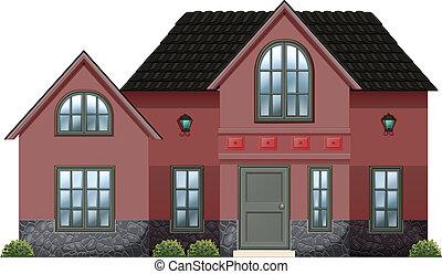 concreto, vermelho, casa