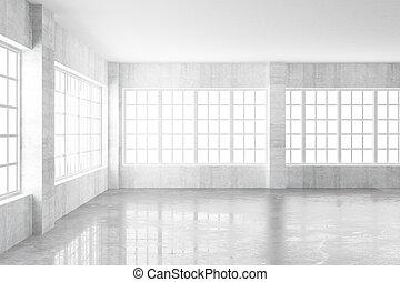 concreto, windows, interpretazione, luce, interno, vuoto, 3d