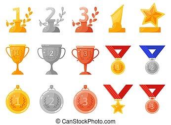 concurrence, endroit, trophée, seconde, accomplissement, vecteur, troisième, cups., or, argent, récompenses, premier, bronze, prix, symboles, médailles, ensemble, enjôleur
