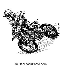 concurrence, motocross, dessin