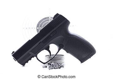 concurrence, noir, une, pistolet