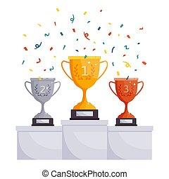 concurrence, vecteur, tasses, trophée, accomplissement, gagnant, or, cups., argent, victoire, célébration, bronze, récompenses, podium, illustration, pedestal., récompense