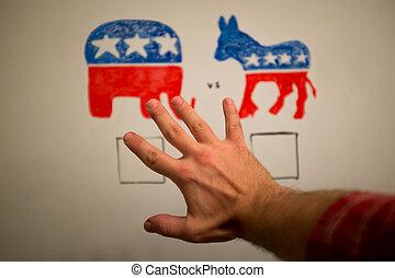 concurrent, politiek, concept., democraten, vs, republikeinen, elections.