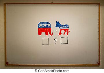 concurrente, política, concept., demócratas, contra, republicanos, elections.