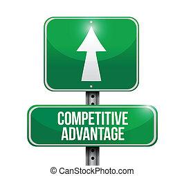 concurrerend, voordeel, straat, illustratie, meldingsbord