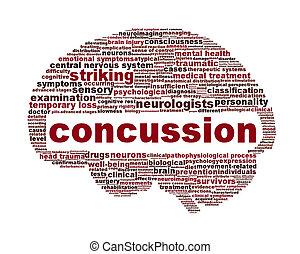 concussion, traumático, ferimento, ícone, desenho