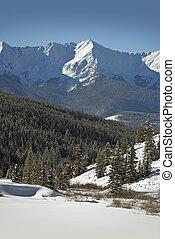 condado, cumbre, invierno