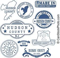 condado de hudson, señales, genérico, nj, sellos