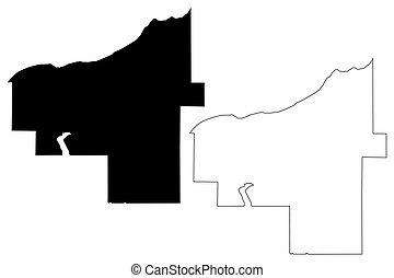 condado, ilustración, (u.s., michigan, américa, estados, vector, estados unidos de américa, ontonagon, us), unido, u..s.., bosquejo, mapa, garabato