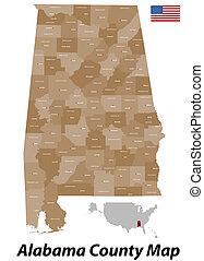 condado, mapa, alabama