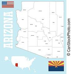 condado, mapa, arizona