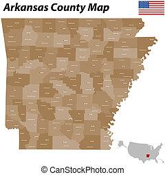 condado, mapa, arkansas