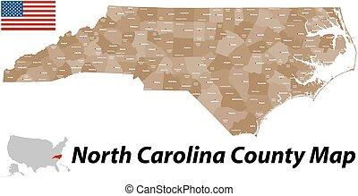 condado, mapa, carolina del norte