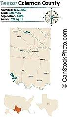 condado, mapa, coleman, tejas