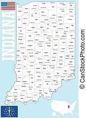 condado, mapa de indiana