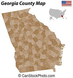 condado, mapa, georgia