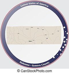 condado, mapa, ginebra, alabama