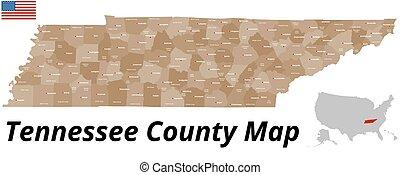 condado, mapa, tennessee