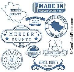condado mercero, señales, genérico, nj, sellos