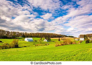 condado, pennsylvania., granjas, york, rural, vista