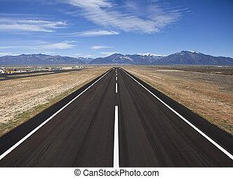 condado, rural, aeropuerto, pista