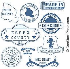 condado, señales, genérico, essex, nj, sellos