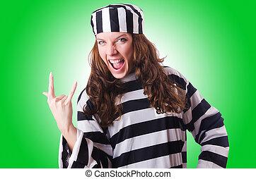 condenado, listrado, criminal, uniforme