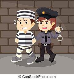 condenado, pegando, polícia, mulheres