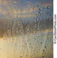 condensación, en, el, ventana
