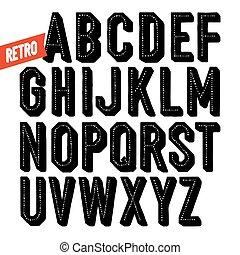 condensado, alphabet., sans, feito à mão, mão, serif, pretas, retro, font., inline, desenhado, tipo, shadow., ponto