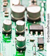 condensadores, transistores, y, otro, electrónico,...