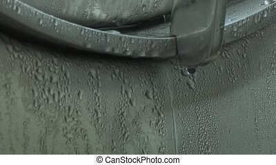 Condensate drops on a metal tank close-up. Steel, modern,...