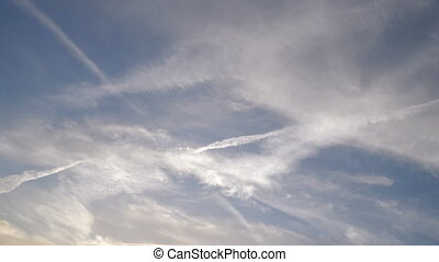 Condensation trails left in the sky by high flying crafts