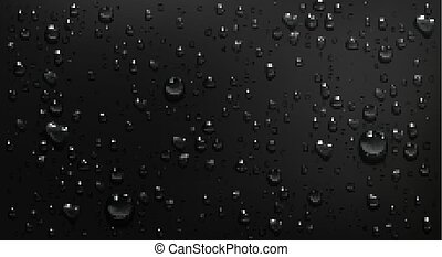 Condensation water drops on black glass background. Rain ...