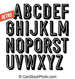 condensed, alphabet., sin, hechaa mano, mano, serif, negro, retro, font., en línea, dibujado, tipo, shadow., punto
