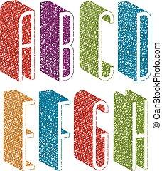condensed, b, lettres, d, g, f, mince, lignes, c, main, style, h., retro, grand, 3d, dessiné, police, e, texture
