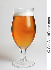 Glass of beer with water condensing on the glass