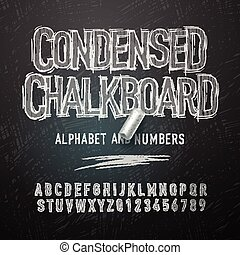 Condensed chalk alphabet letters and numbers