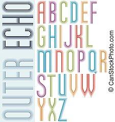 condensed, lumière, lettres, géométrique, majuscule, écho, arrière-plan., clair, police, affiche, blanc, rayé
