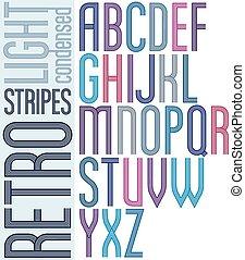 condensed, lumière, lettres, géométrique, majuscule, arrière-plan., clair, police, retro, affiche, blanc, rayé