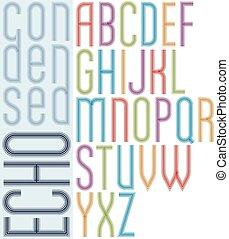 condensed, lumière, lettres, majuscule, écho, arrière-plan., clair, police, affiche, blanc, rayé, transparent