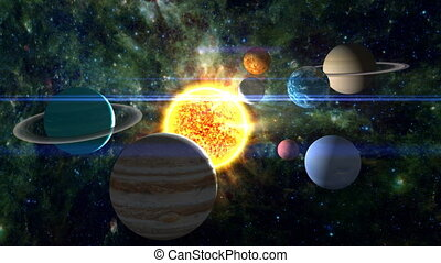 Approaching our solar system, with all the planets scattered around the burning sun. Includes lens flare, nebular and star background, and radiating solar flares. See my portfolio for more quality space animations. Texture maps and space images courtesy of NASA (www. nasa. gov)