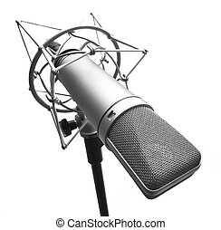 microphone - condenser microphone isolated on a white ...